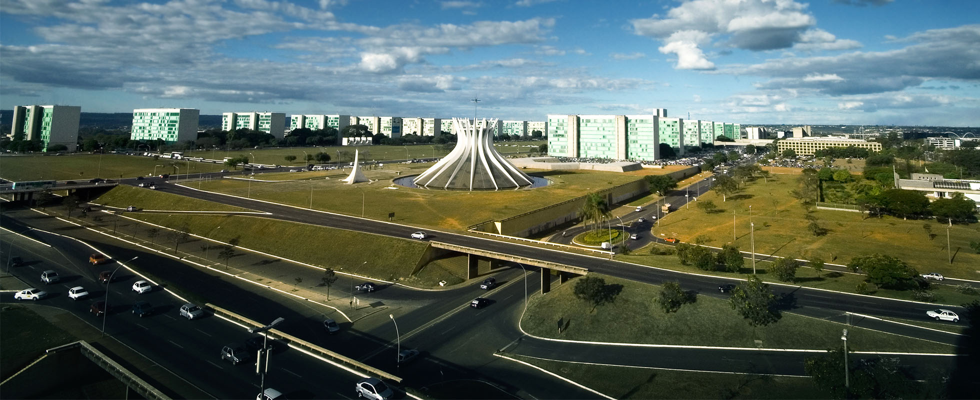 Aerial View of Brasilia's Cathedral and Ministry Esplanade in Brazil